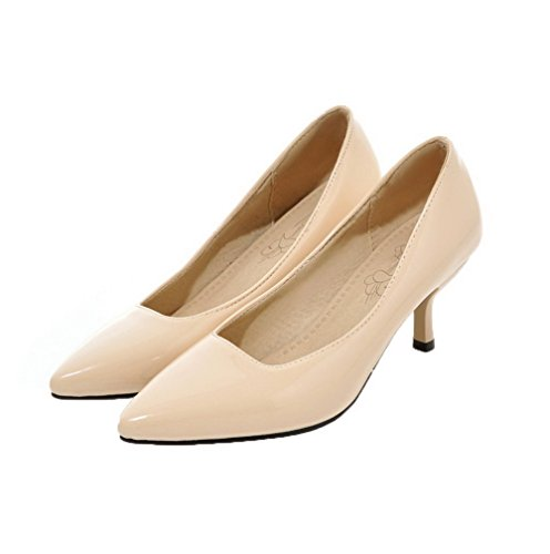 apricot Kitten Solid Women's Heels Toe Pull Pumps WeiPoot Shoes Pu Pointed On Px7Bqn4w5