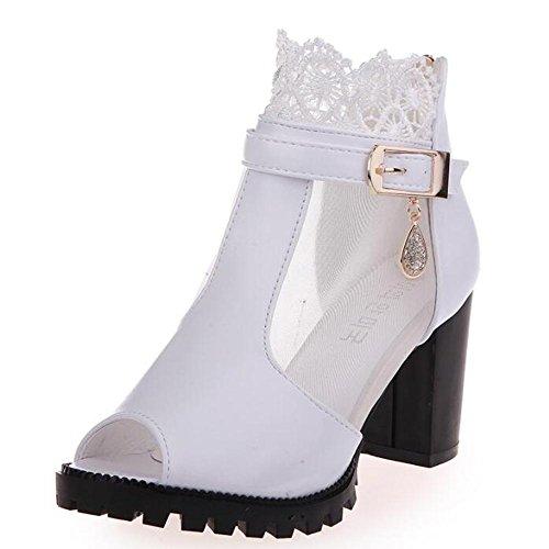 L@YC Frauen Fisch Fr¨¹hling Sommer Sandalen High Heel Buckle Bud Seide Garn Slim Schwarz Wei? White