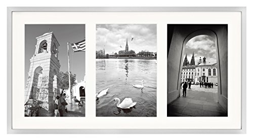 Golden State Art 8.5x16.3 Silver Frame - Ivory Mat for Three 5x7 Pictures - Aluminum Metal - Sawtooth Hangers- Swivel Tabs - Wall Mounting - Landscape/Portrait - Real Glass - Collage Frame ()