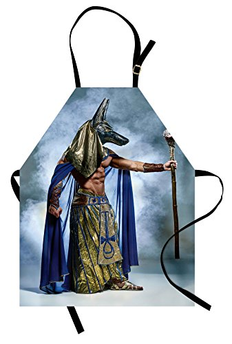Lunarable Egyptian Apron, Egyptian Pharaoh with Mask of Anubis Foggy Background Print, Unisex Kitchen Bib Apron with Adjustable Neck for Cooking Baking Gardening, Mustard Dimgrey Navy Blue]()