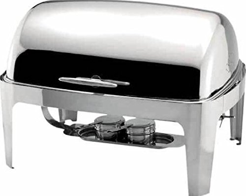 Winware 2 Count Roll Top Stainless Steel Chafer Set 8 Qt Silver