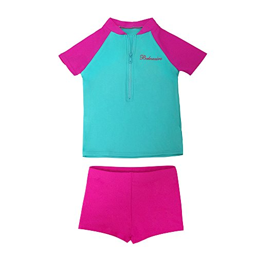 BALNEAIRE Girl's Two Piece Tankini Swimsuit for Kids UPF 50+ Zipper Rash Guard Size 5-6 Pink ()