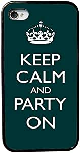 Rikki KnightTM Keep Calm and Party On - Green Color Design iPhone 4 & 4s Case Cover (Black Rubber with bumper protection) for Apple iPhone 4 & 4s