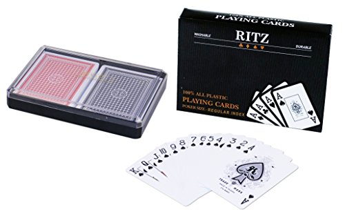 Da Vinci 2-Decks Poker Size Ritz 100% Plastic Playing Cards Set in Plastic Case, Regular Index ()