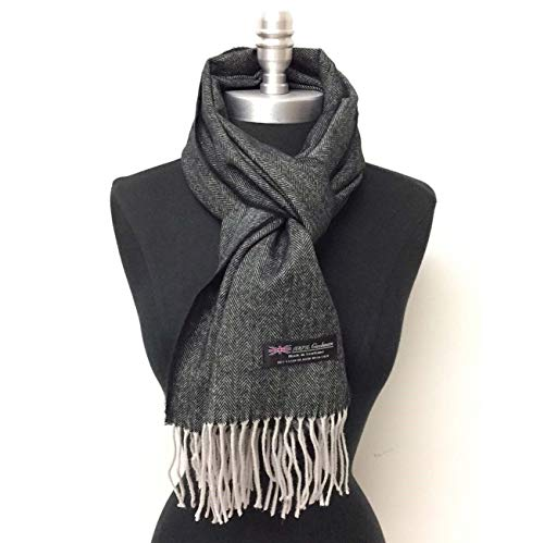 (Men Women unisex 100% CASHMERE Warm Herringbone Black Scarf Wool SCOTLAND B0220)