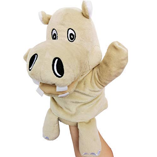 """KIDS BRIGHT TOYS Plush Toy Hand Puppet - with Movable Open Mouth and Pocket - 10"""" Mufy The Hippo(Hippo)"""