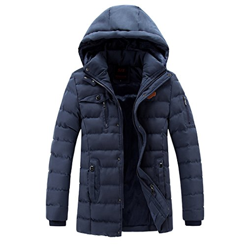 Men's Oxford Windproof Puffer Parka LEADER Thick Blue Coat Winter Hooded Fabric WALK FZaq5