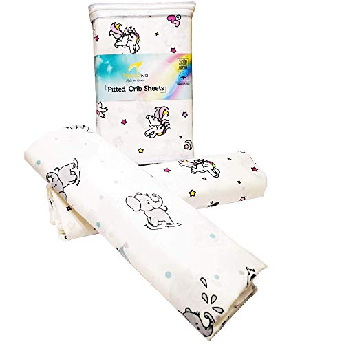 (Handywa - 100% Cotton Fitted Crib Sheet Set for Baby & Toddler Bed Mattresses - Sweet Unicorn & Grey Elephants - White Background for Boys and Girls - Soft, Breathable (2 Pack))