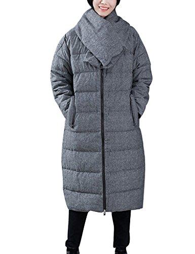 Youlee Femmes Hiver Grand Collier Réversible Vers le bas Manteau