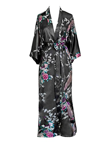 Old Shanghai Women's Kimono Long Robe - Peacock & Blossoms - Gunmetal (on-seam pocket)