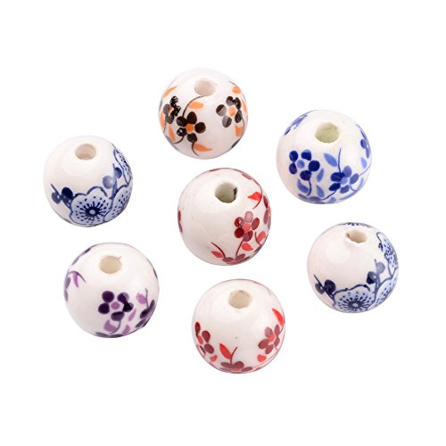 Porcelain Beads Round (Pandahall 20-piece Traditional Chinese Stlye Theme Flower Handmade Printed Porcelain Round Beads, Assorted Flower Beads Hole: 3mm)