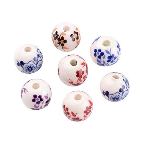 Pandahall 20pcs Traditional Chinese Style Theme Flower Handmade Printed Porcelain Round Beads Clay Bubblegum Ball Beads Hole 3mm