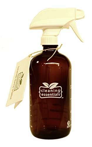 16 oz. Glass Spray Bottle for DIY Cleaning with Essential Oils; 5 Non-Toxic, all-natural homemade cleaning recipes printed on the side. Durability Guaranteed. Made in USA. Stream, mist & off settings.