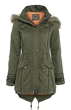 ss7 oversized hood fishtail parka coat khaki sizes 8. Black Bedroom Furniture Sets. Home Design Ideas