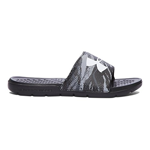 Under Armour Boys' Strike Blend Slides Sandal, Black-2, 5 M US Big Kid (Kids Slide Shoes)