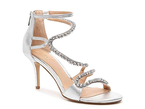 Badgley Mischka Womens Liberty Leather Open Toe Bridal Strappy, Silmet, Size 8.0