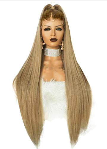 Cherryi High Temperature Fiber Peruca Long Straight Synthetic Hair Wig Brown Ombre Ash Blonde,Blonde,24inches -