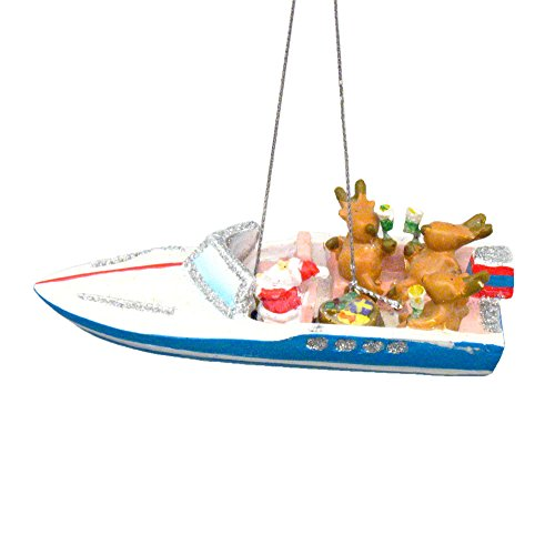 Boat Ornament - SS Santa and Reindeer Party Boat Christmas Ornament