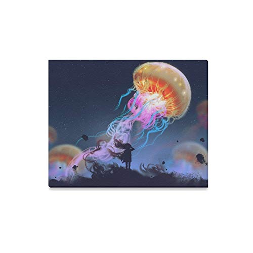 JTMOVING Wall Art Painting Silhouette Girl Looking Giant Jellyfish FloatingPrints On Canvas The Picture Landscape Pictures Oil for Home Modern Decoration Print Decor for Living Room