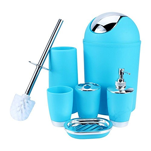 Zuvo 6 Pcs Plastic Bathroom Accessory Set Luxury Bath Accessories Bath Set Lotion Bottles, Toothbrush Holder, Tooth Mug, Soap Dish, Toilet Brush, Trash Can, Rubbish Bin (Blue)