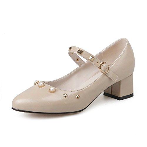 Zapatos de Tacón/Durante la Primavera y el Otoño de Zapatos de Mujer, con un Gran Número de Cabezas de Ganado obstaculiza los Estudiantes Zapatos Apricot