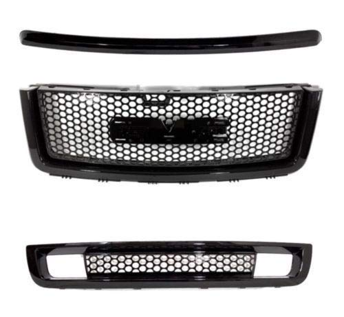 (Front Grill for GMC Sierra 1500 2007-2013 | Denali Style Glossy Black ABS | Upper Lower Grilles and Hood Molding Trim | by JX Accessories )