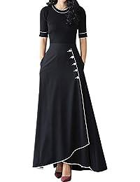 Eiffel Women's High Waist A-line Ankle Length Office Maxi Long Flared Skirt Dress with Pocket