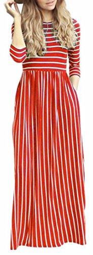 Jaycargogo Womens Col Rond Casual Manches 3/4 Maxi Swing Bande Longue Robe 6