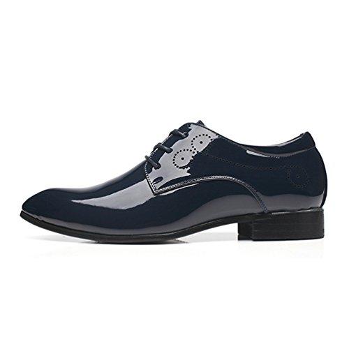 Homme Chaussure a Lacet en Cuir Pointue Souple Résistance à l'usure Soulier Habillée Chaussure au Loisir Basse Plate Bleu kTLagCbsv