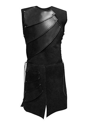 COSFLY Mens Unisex Mid-Long Renaissance Medieval Victorian Waistcoat Vest Costume Split Stage Suit (Black, X-Large)