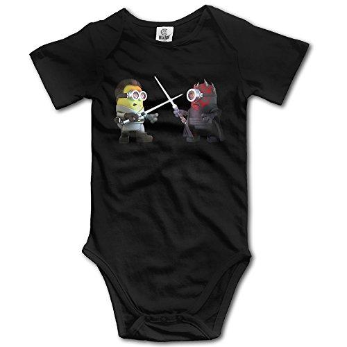 Black Baby Boys' Star Wars Darth Obi Wan Minion Romper Jumpsuit (Kids Minion Suit)