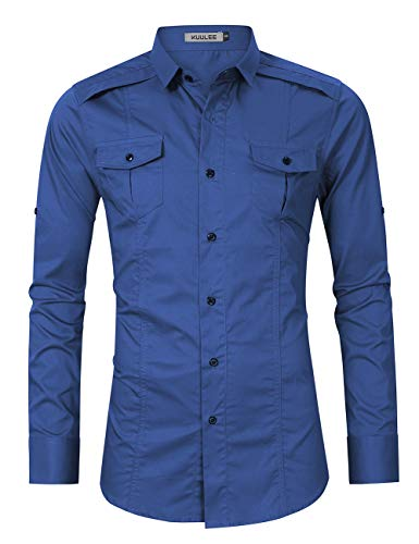 Kuulee Men's Casual Slim Fit Short Sleeve Button Down Dress Shirts Cargo Shirt (L, Royal Blue-1) - Cargo Pocket Shirt