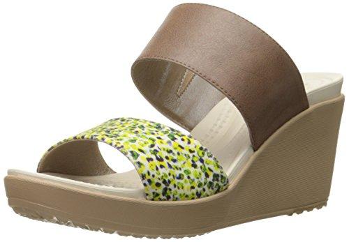 Bronze Multi Leather Footwear - Crocs Women's Leigh II 2 Strap Graphic Wedge Sandal, Bronze/Gold, 8 M US