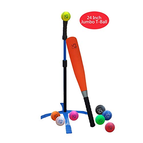 Macro Giant 24 Inch Jumbo T Ball, Tee Ball, T-Ball Set, 1 Orange Jumbo Foam Bat, 8 Foam Baseballs, Assorted Colors, Training Practice, Youth Batting Trainer, School Playground, Kid ()