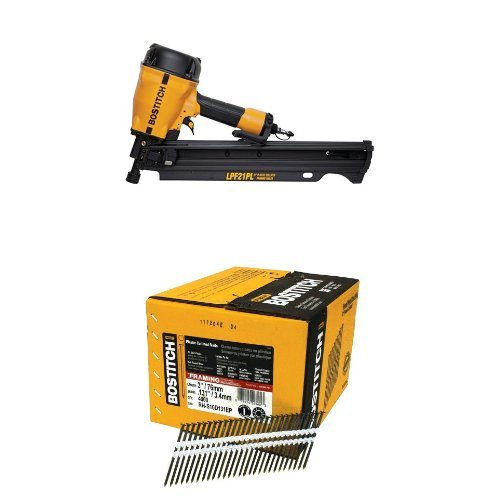 BOSTITCH LPF21PL 21 Degree 3-1/4-Inch Low Profile Framing Nailer & Round Head 3-Inch by .131-Inch by 21 Degree Plastic Collated Framing Nail (4,000 per Box)