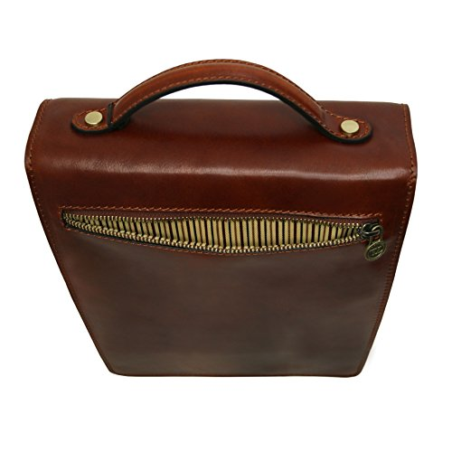 Tuscany Leather David Leather Crossbody Bag - large size Brown by Tuscany Leather (Image #4)