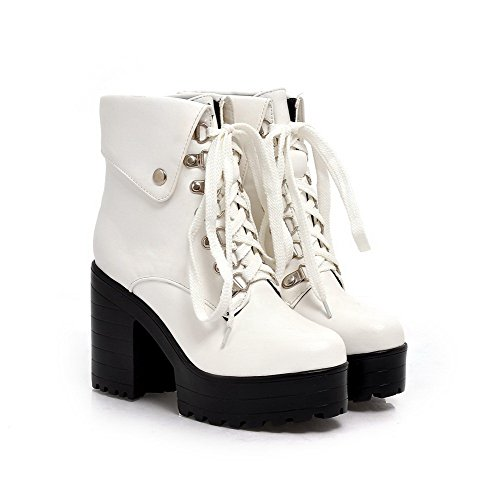 AgooLar Damen Hoher Absatz Lackleder Niedrig-Spitze Rein Schnüren Stiefel Weiß