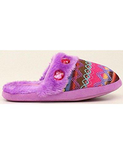 M & F Western Mujeres Knit Imprimir Zapatillas Deslizantes Purple Slipper Xl (ee.uu. Mujeres 11-12) M