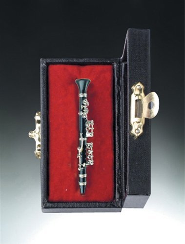 Black Oboe Music Instrument Miniature Replica on Stand with Case, Size 3 -