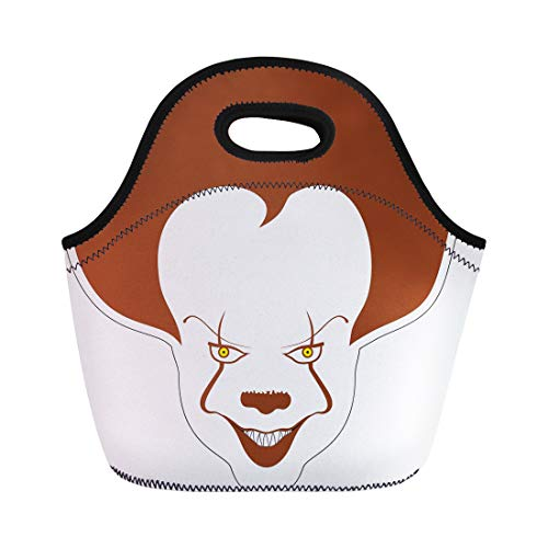 Semtomn Lunch Bags Drawing Evil Clown Scary Cartoon Character Circus Creepy Face Neoprene Lunch Bag Lunchbox Tote Bag Portable Picnic Bag Cooler -