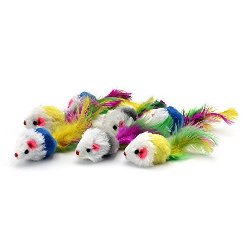 (Pawstrip Cat Toy Furry Mice,Rattling Cat Toy Mouse with Further Tail, Pack of 12pcs)