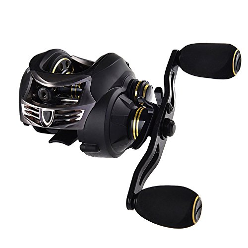 KastKing Stealth Baitcasting Reel - All Carbon Baitcaster Fishing Reel - 6oz Super Light Weight - 16.5 Lb Carbon Fiber Drag, 11 + 1 BB, Dual Brakes(Left Handed Reel)