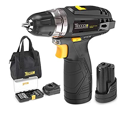 """Cordless Drill Driver Sets, TECCPO Compact Drill Lightweight with 2X 2.0Ah Batteries, Fast Charger, 265In-lbs Torque, 20+1 Torque Setting, 3/8"""" Chuck, 29pcs Accessories - TDCD01P"""