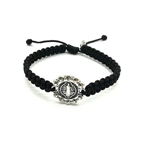 - St Benedict Medallion Handmade Cord Bracelet from Medjugorje/San Benito Medal Bracelet (Black)