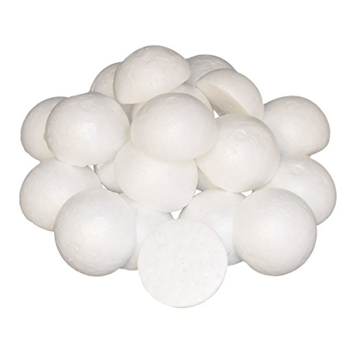 (Baoblaze 100 Pieces White Half Round Solid Styrofoam Foam Balls Christmas Decoration Ornament 60mm)