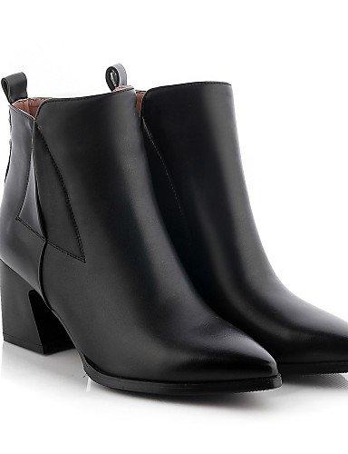 Xzz Cerrada Black Punta Y De Zapatos Cuero Eu39 Mujer Puntiagudos Uk6 Tacón us8 Sintético us8 Vestido Botas Oficina Casual Brown Robusto Exterior Trabajo Cn39 rPrnqA