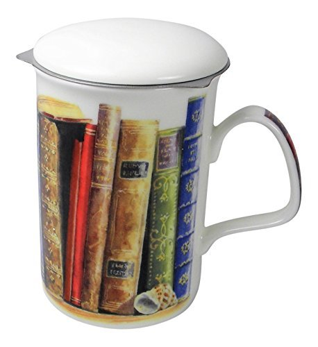 Classic Book Lovers 3 Piece Tea Mug with Infuser and Lid Fine Bone China England by Roy Kirkham Creative Writing
