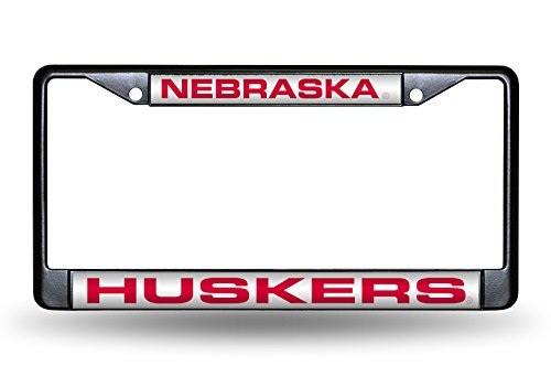 Rico NCAA Nebraska Cornhuskers Huskers Laser Cut Inlaid Standard Chrome License Plate Frame, Black