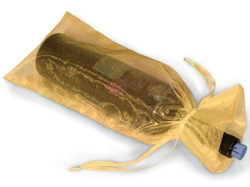 (Gold Sheer Organza Wine Bags - 6.5 x 15 - 10 Pack)