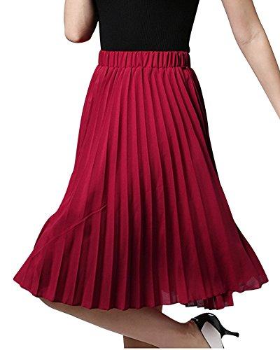 Faldas De Mujeres Elástica Alta Cintura Falda Plisada A Line De La Playa Faldas Midi Vino Rojo